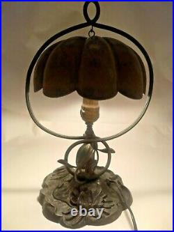 Antique PAIRPOINT LAMP 3056 TULIP Daisy FLOWER Floral DESK Table BRASS Metal HTF