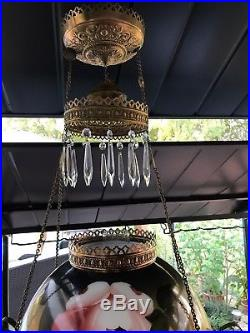 Antique Parlor Library Chandelier Hanging Oil Lamp Shade Crystals Smoke Bell