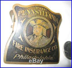 Antique Philadelphia Pa Franklin Liberty Bell Fire Insurance Brass Art Desk Clip