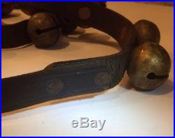 Antique Primitive 36 Brass Sleigh Bells On Leather c. 1800s Rustic Holiday Decor