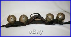 Antique Primitive Brass Rump SLEIGH BELLS On Leather Strap 4 Lge Bells 1800's