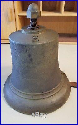 Antique Rare Queen Elizabeth Regina Large Brass Bronze Ships Bell E. R. SCC 12/52