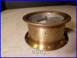 Antique SCHATZ Ships Bell Clock 8 Day 7 Jewels Brass Flared Ring Flange Mount