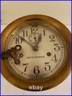 Antique SETH THOMAS Brass Ships Bell Strike 7 Marine Ship Deck Nautical Clock