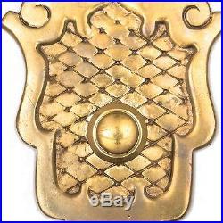 Antique SHIELD PUSH BUTTON DOORBELL COVER Plate Brass Door Bell Electric Vtg
