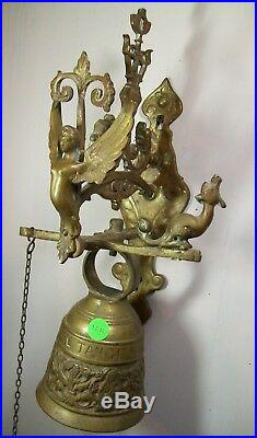 Antique Saint Mark's Monastery Ornate Bass Bell with Pull Chain Door School