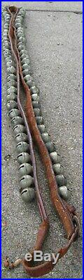 Antique Sensational Leather Strap With Buckle Of 64 Brass Sleigh Bells