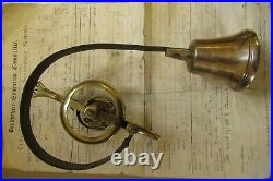 Antique Servants / Butler / Maids Mechanical Brass Door Bell diameter ref 1