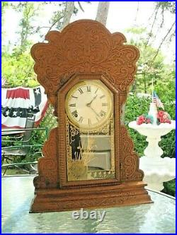 Antique Sessions Clock Large Oak Wood Case 8 Day Time & Strike Movement