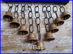 Antique Set Cascading Row Sleigh Bells Brass Primitive Wagon Carriage Door Mount
