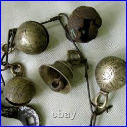Antique Set Of 22 Brass & Iron Bells With Doodahs Attached Tamang Tibet Nepal