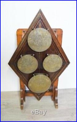 Antique Set Of Oak & Brass Dinner Gong From A British Prep School+ Pediment