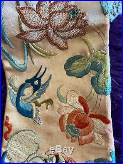 Antique Silk Forbidden Stitch Bell Pull Brass Fitings Frogs Symbols Bird Flowers