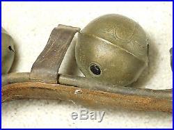 Antique Sleigh Bells 48 Leather 14 Graduated Brass Bells