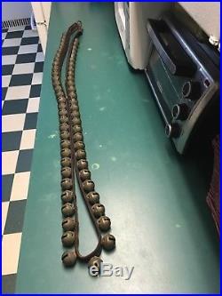 Antique Sleigh Bells on 86 inch Leather Strap 60 brass bells