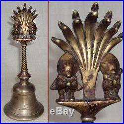 Antique Smooth Hanuman & Garuda Brass Temple Bell With Mukhalinga Snakes Nepal