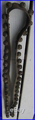 Antique Substantial Set Of 42 Brass Sleigh Bells On Wide Leather Strap 3 Sizes
