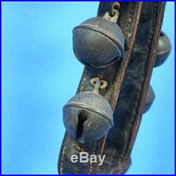 Antique Swiss 9 BRASS SLEIGH BELLS Leather Collar Horse Parade Metal Buckle 1900