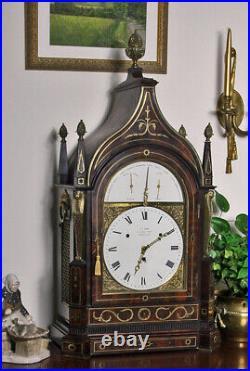 Antique Tode Regency 15-Bell Musical Table Clock, Egyptian Motif London 1815