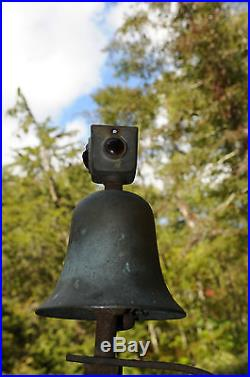 Antique Trolley/Train Brass Bell with Ruby Glass Reflectors Whistles Bells Horns