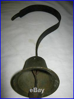 Antique USA Primitive Country General Store Hanging Spring Brass Iron Door Bell