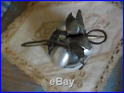 Antique VICTORIAN Service Bell Early Hotel Desk Brass Bird Mother of Pearl