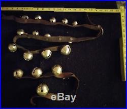 Antique VTG 1800s Era 21 Brass Buckle Horse Sleigh Bells Xmas Leather lot