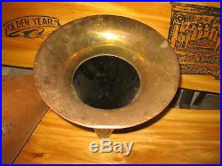 Antique Victor Outside Brass Bell Horn With Original Carry Cover