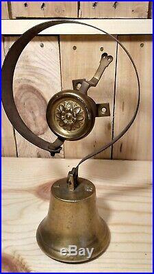 Antique Victorian 3 1/2 Solid Brass Servant Butler or Shop Store Door Bell