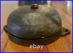 Antique Victorian Cast Brass & Copper Twist Door Bell Turn Knob Plate & Bell