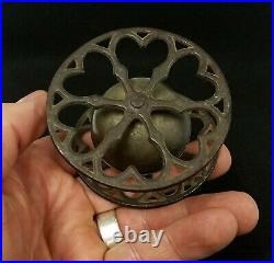 Antique Victorian Cast Iron & Brass Rolling Bell Toy