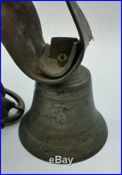 Antique Victorian Cattle Cow Bell + Leather Strap Rustic Country Home Doorbell