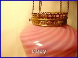 Antique Victorian Hanging Electrified Oil Lamp Pink Glass Gold Brass Smoke Bell