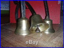 Antique Victorian Hanging Servants Bell Set Of Three Brass Bells