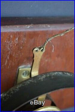 Antique Victorian Mahogany Mounted Brass Servants Bell front door bell reclaimed