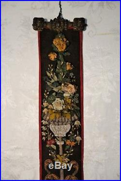 Antique Victorian Servants Bell Pull Needlepoint Brass Ends Floral Embroidery