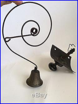 Antique Victorian Servants Brass Bell With Pull Knob And Plate General Store