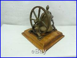 Antique Victorian Table Servants Wall Mounted Brass Bell withwheel