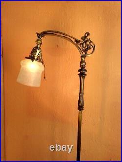 Antique Victorian Wrought Iron/Brass Floor Lamp, Antique Shade/Socket