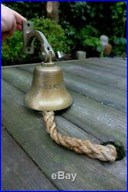 Antique Vintage Brass Ship's bell S. S. Ackers Pub Boat Ship Home Loft Man Cave