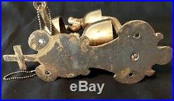 Antique Vintage Church Bell Brass and Steel 3 Bells 9 Clappers HEAVY Wall Mount