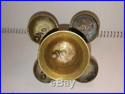 Antique Vintage Church Sanctuary Church Altar Bell Brass 5 Cup Bells Catholic