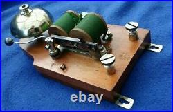 Antique Vintage French Electric Door Railway Butler Alarm Bell Wood Brass