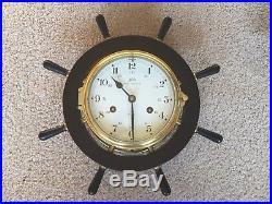 Antique Vintage German Schatz Brass and Wood Ship's Bell Clock and Barometer Set
