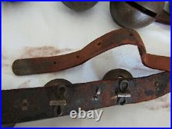 Antique Vintage Horse Brass Sleigh Bells 23 on 80 Leather Strap Santa Reindeer