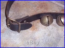Antique Vintage Horse Sleigh Bells 30 Brass Plated 1 1/4 Bells on old 74 Strap