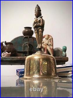 Antique Vintage Indian. Hanuman Hindu Brass Temple Hand Bell. Ghanta Rajasthan