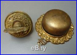 Antique / Vintage Old Victorian Brass Door Bell Ringer / Twist Key