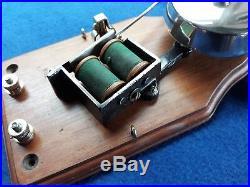 Antique Vintage Original Electric Door Railway Butler Alarm Bell Wood Brass