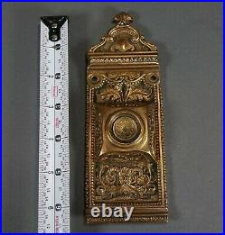 Antique Vintage Ornate Victorian Gold Plated Brass Door Bell Cover Plate